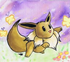 eevee pokemon watercolor on canvas by LightningChaser