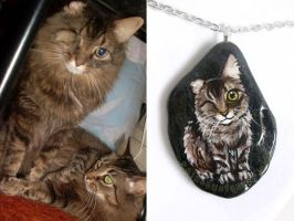 Custom Maine Coon Cat Pendant Necklace by sobeyondthis
