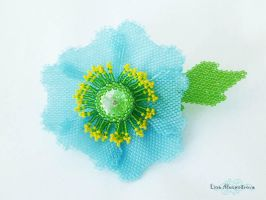 Beadwork: Himalayan Blue Poppy by LinaIvelle