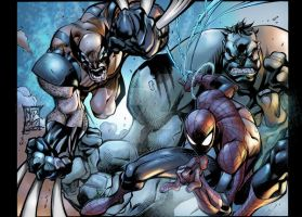 Spidey Wolvie and Hulk by Joe Mad by bulalakaw76