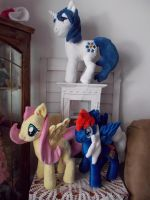 My little pony plushies just hanging out by CINNAMON-STITCH