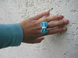 Mini Crochet Bow Tie Ring by Hope555