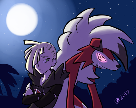 Gladion and Lycanroc by OminousMoon