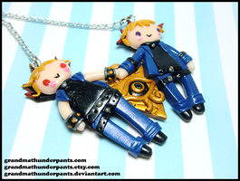 Yami/Yugi Puzzleshipping Necklace by GrandmaThunderpants