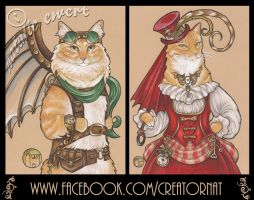 Victorian Lady and Air Ship Captain Cats by natamon