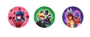 Miraculous Ladybug Badges!! by Envy4hearts