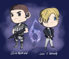 Chris Redfield and Leon S. Kennedy by redfield37