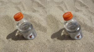 Stereograph - Bottle in the Sand by alanbecker