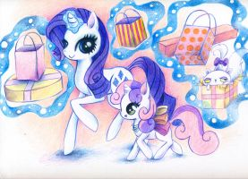 Rarity and Sweetie Bell by xxswanfeather