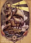 ship and lighthouse tattoo design by mojoncio