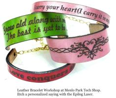 Laser etched leather bracelets workshop by Alyssa-Ravenwood