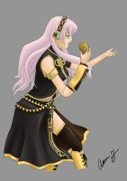 Luka Megurine- Waiting on a background by a-ka-neArt