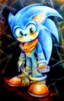 Sonic Boom Boy Sketch - colour pencil by MissTangshan95