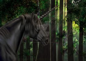 Black Unicorn In Forest Commission 2014 by Blood-Huntress