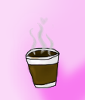 Coffee Cup - pink background by tintedslightly