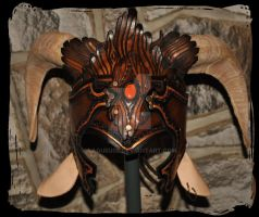 Faun satyre leather helmet with ears and horns by Lagueuse