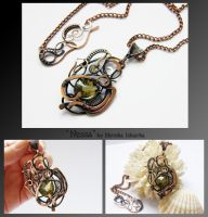 Nessa- wire wrapped copper necklace by mea00