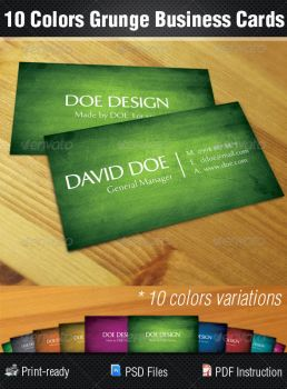 10 Colors Grunge Business Cards by madebygb