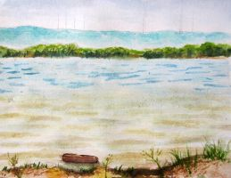 Lake Lewisville water color study by xensoldier