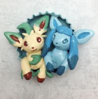 Leafeon and Glaceon Pop-Out Magnet by LeiliaClay