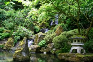 portland japanese garden waterfall by ringmale