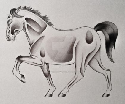 Old School Horse Tattoo by Vulpes-Corsac