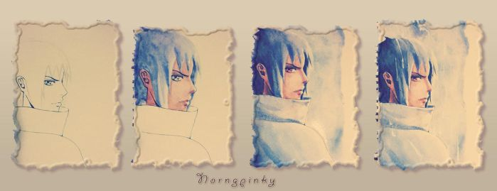 Sasuke Uchiha 573 Watercolor Steps by NorngPinky