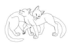 Cat couple lineart by IsharaHeart