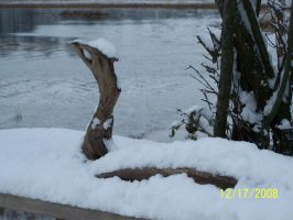 the loch ness monster in snow by rubies52