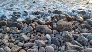 Waves washing up on the shore 1 by nharmoniafangirl14