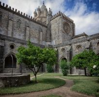Cloisters of Evora Cathedral by rhipster