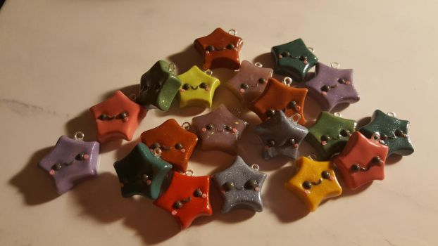Scrap Clay Kawaii Star Charms by Zen-In-Motion