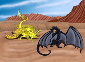 Fight in desert by Kuro-Hiryuu