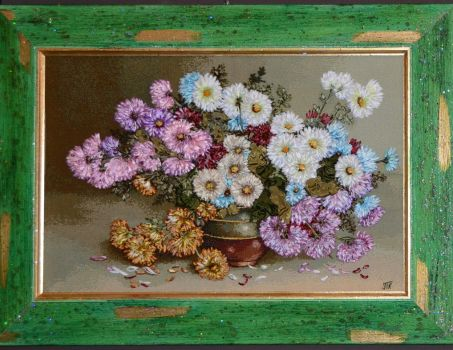 Embroidered picture, Asters on the tapestry by TetianaKorobeinyk