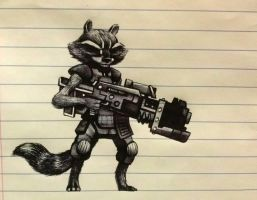 Rocket Racoon sketch by legumebean