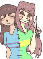 Frisk And Chara Conjoined by dissantii