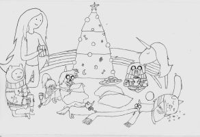 Christmas Time in Adventure Time (Greyscale) by Stitchpunk89