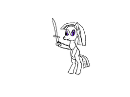 pony holding up a sword by PhantomGamer21