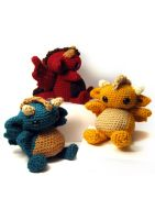 Amigurumi Dragon Trio by ex-astris1701