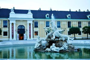 Fountain and cafe at Schonbrunn by wildplaces