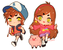 gravity falls -- The Pines Twins (+speedpaint) by onisuu