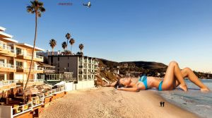 giantess relaxing at the beach by lowerrider