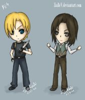 RE4 : Chibi Leon + Luis by ZiaReN