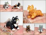 Kitten Pupple Necklaces by LeiliaClay