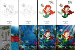 Step by step Chibi Ariel and Flounder by EvyLeeArt