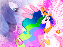 Celestia graphic with Luna by PonyGFXGalleria