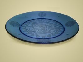 Blue plate angle view etched by ImaginedGlass
