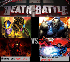 Thanos and Mephisto Vs Darkseid and Ultraman by newsuperdannyzx