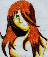 my female char. in color pen by maddaluther