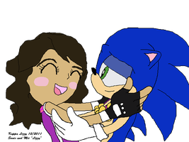 Sonic and my Mii at the London Games  victory kiss by kappalizzy